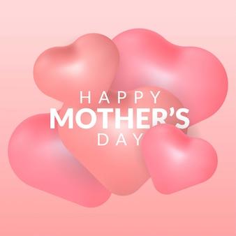 Feliz dia das mães com balão de coração