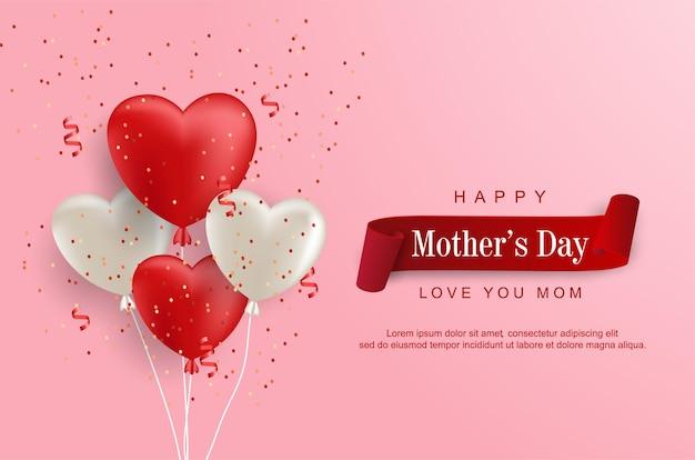 Feliz dia das mães com balão do amor