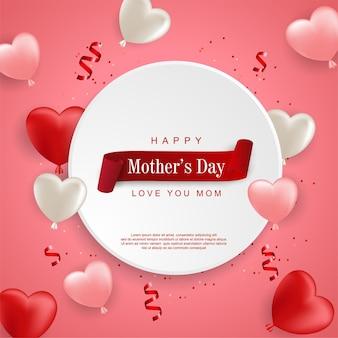 Feliz dia das mães com balão realista
