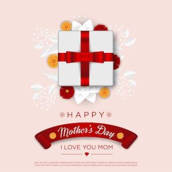 Feliz dia das mães com caixa de presente