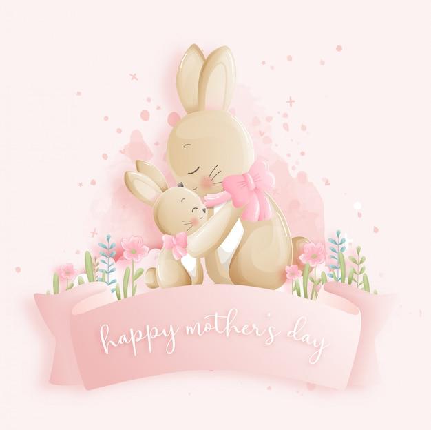 Feliz dia das mães com coelhinhos. ilustração vetorial