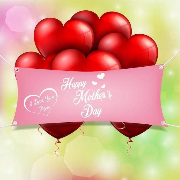Feliz dia das mães com corações de balões vermelhos