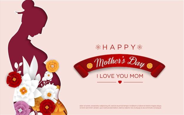 Feliz dia das mães com corte de papel da mãe