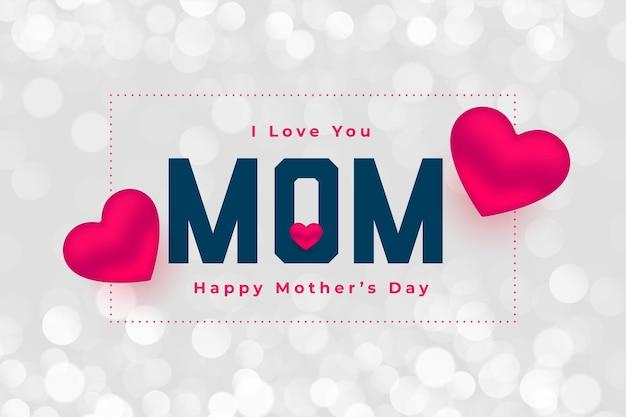 Feliz dia das mães com design de fundo de corações