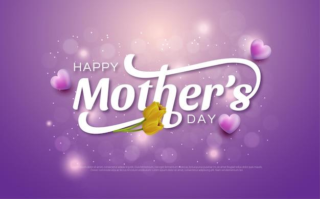Feliz dia das mães com flor e corações