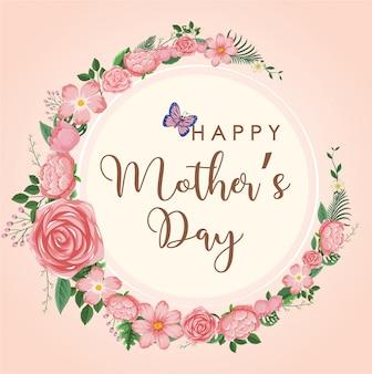 Feliz dia das mães com flores cor de rosa