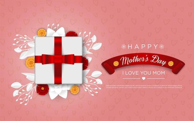 Feliz dia das mães com flores e caixa de presente