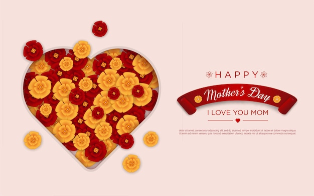 Feliz dia das mães com flores no corte de papel de amor