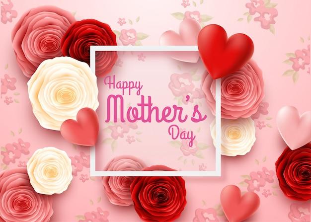 Feliz dia das mães com flores rosas e fundo de corações