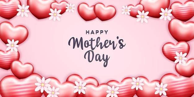 Feliz dia das mães com formas de lareira e flores realistas
