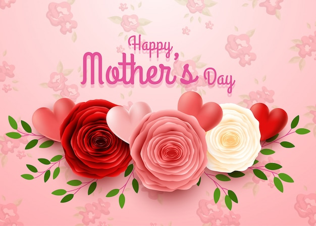 Feliz dia das mães com fundo de flores