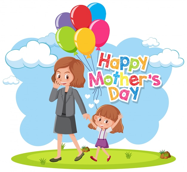 Feliz dia das mães com mãe e filha