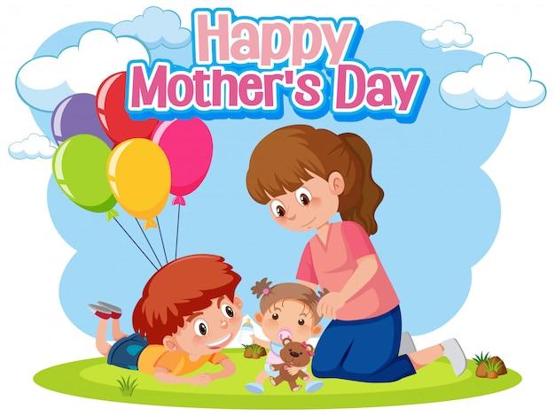 Feliz dia das mães com mãe e filhos no parque