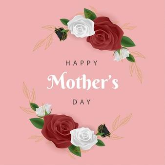 Feliz dia das mães com moldura de flor rosa
