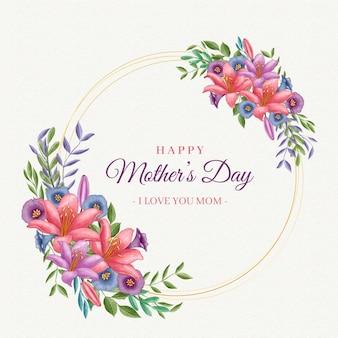 Feliz dia das mães com moldura de flores