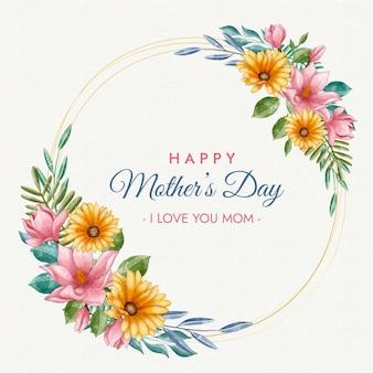 Feliz dia das mães com moldura dourada