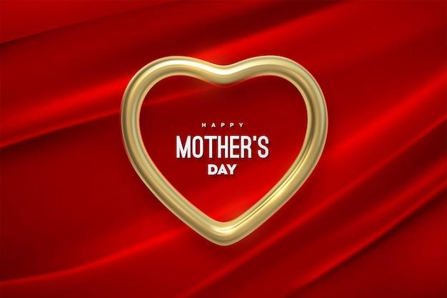 Feliz dia das mães com moldura em formato de coração dourado em tecido vermelho drapeado
