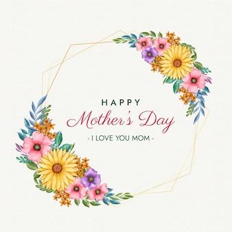 Feliz dia das mães com moldura floral