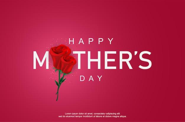 Feliz dia das mães com rosa realista