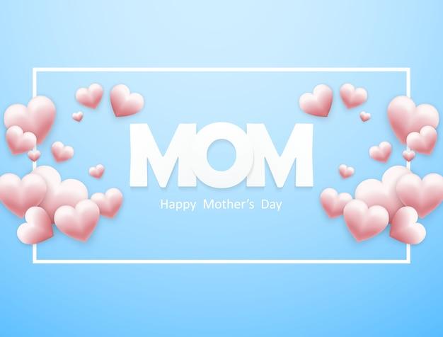 Feliz dia das mães com um coração em um fundo azul