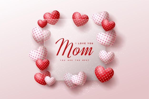 Feliz dia das mães com vidro transparente e balões de amor.