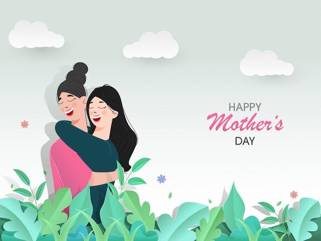 Feliz dia das mães conceito com jovem garota abraçando a mãe na bela paisagem.
