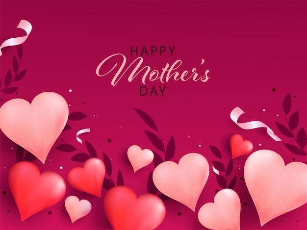 Feliz dia das mães conceito com texto elegante e formas de coração no fundo rosa.