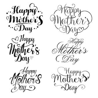 Feliz dia das mães, conjunto de coleta de letras