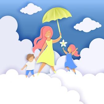 Feliz dia das mães corte de papel ilustração