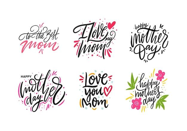 Feliz dia das mães definir letras. isolado.