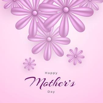 Feliz dia das mães desejando um cartão com design floral realista