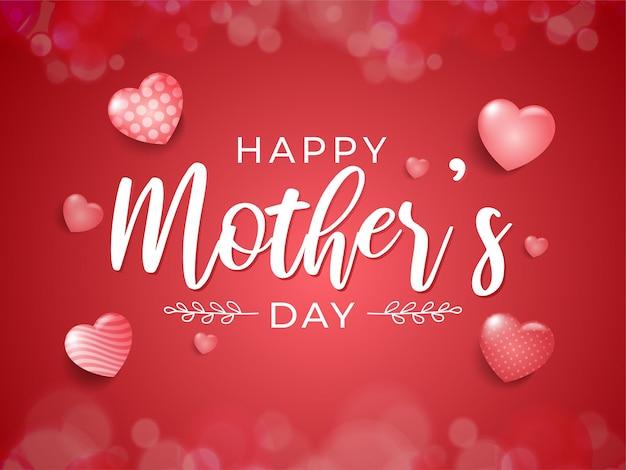 Feliz dia das mães design de cartão com corações