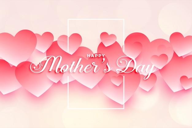 Feliz dia das mães design de fundo de corações bonitos