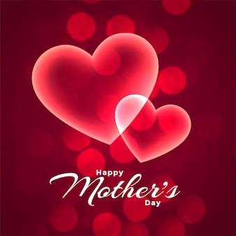 Feliz dia das mães dois corações brilhantes fundo