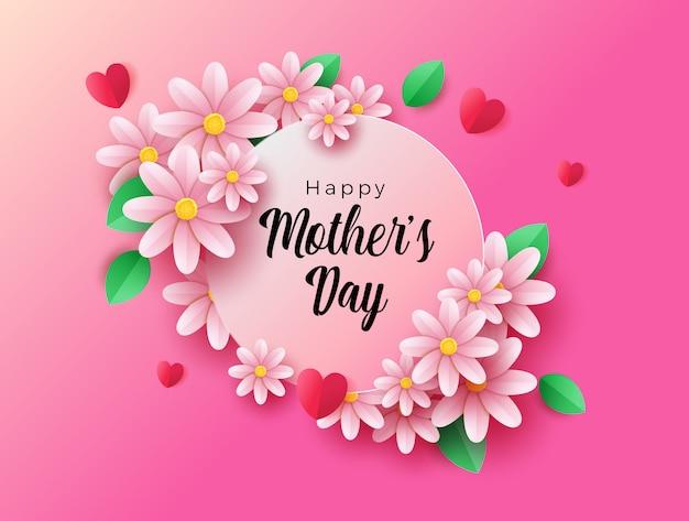 Feliz dia das mães elegante com decoração floral.