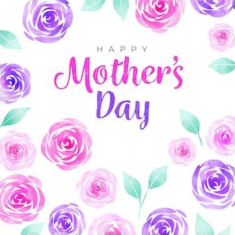 Feliz dia das mães em aquarela rosas