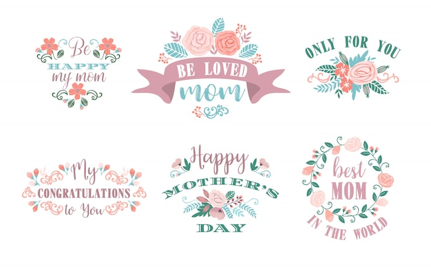 Feliz dia das mães. emblemas de vetor