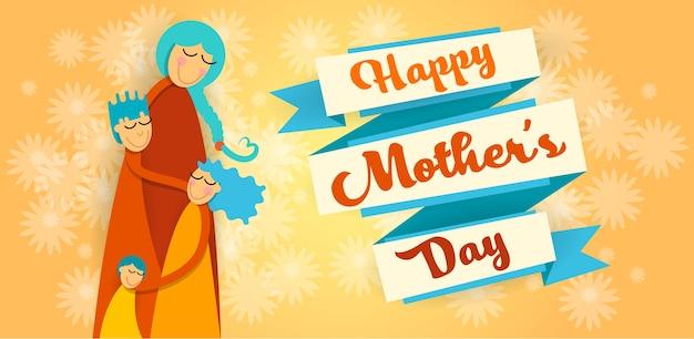 Feliz dia das mães, família amor três crianças