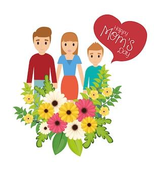 Feliz dia das mães família flores celebração