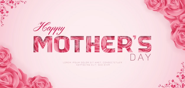 Feliz dia das mães feliz banner anúncio modelo de design