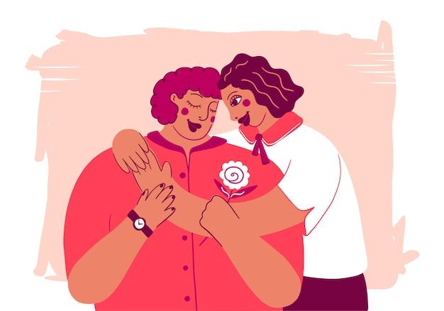 Feliz dia das mães feriado amor postal com letras. filha abraça amada mãe. duas mulheres abraçando