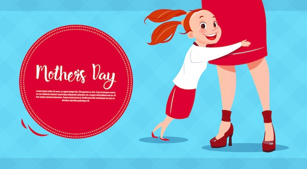 Feliz dia das mães, filha abraçando mãe, banner de cartão de férias de primavera