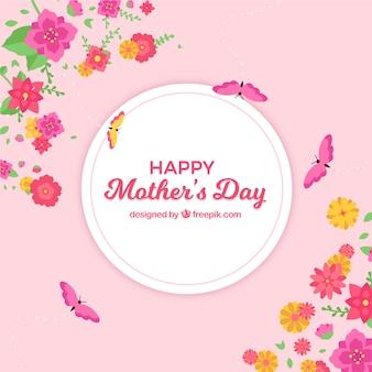 Feliz dia das mães floral fundo