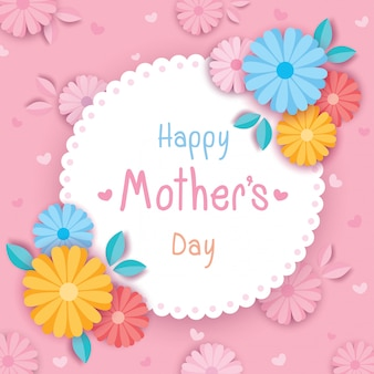 Feliz dia das mães flores cor de rosa