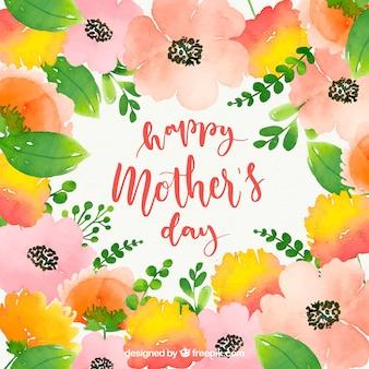 Feliz dia das mães fundo aquarela