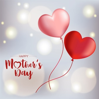 Feliz dia das mães fundo com balões a voar. ilustração vetorial