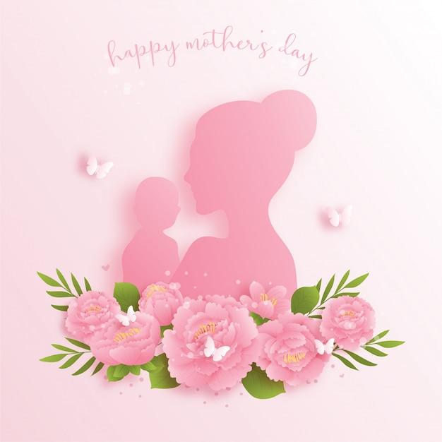 Feliz dia das mães fundo com flores coloridas e borboletas. corte de papel
