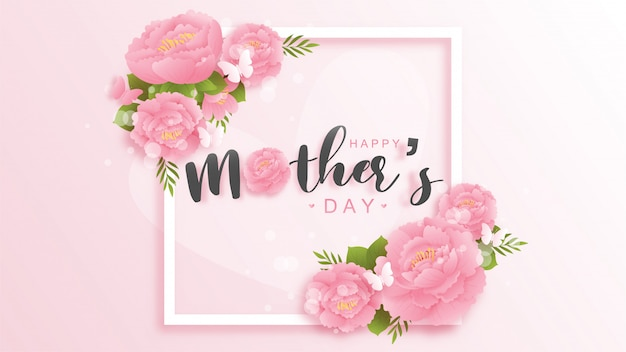 Feliz dia das mães fundo com flores coloridas e borboletas. ilustração de corte de papel.