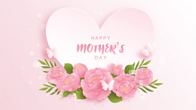 Feliz dia das mães fundo com flores coloridas e borboletas.