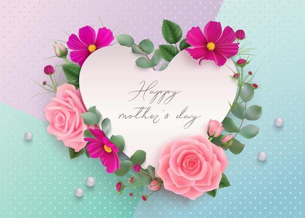 Feliz dia das mães fundo com rosas rosa cosmos roxo flores folhas de eucalipto